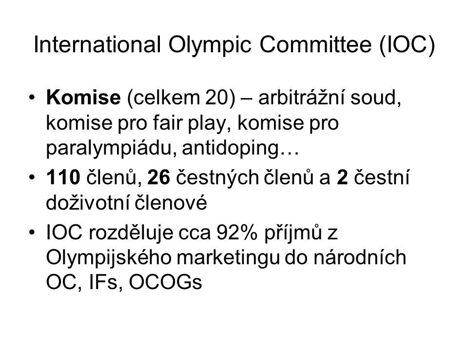International Olympic Committee (IOC) Komise (celkem 20) – arbitrážní soud, komise pro fair play, komise pro paralympiádu, antidoping… 110 členů, 26 č