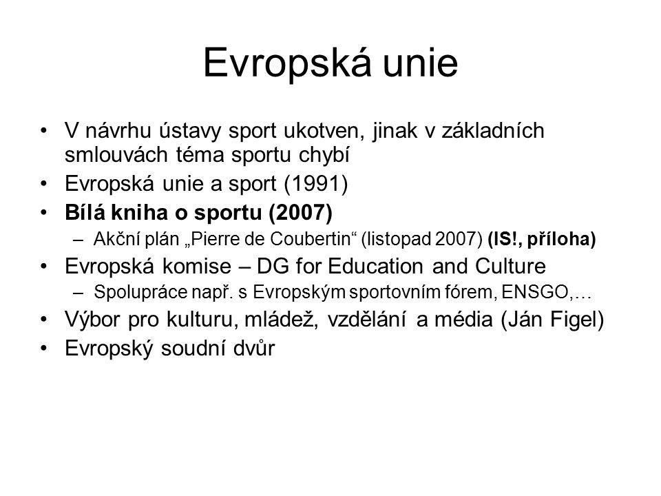 Evropská unie V návrhu ústavy sport ukotven, jinak v základních smlouvách téma sportu chybí Evropská unie a sport (1991) Bílá kniha o sportu (2007) –A