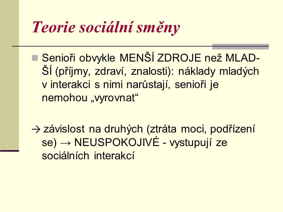Teorie sociální směny Senioři obvykle MENŠÍ ZDROJE než MLAD- ŠÍ (příjmy, zdraví, znalosti): náklady mladých v interakci s nimi narůstají, senioři je n