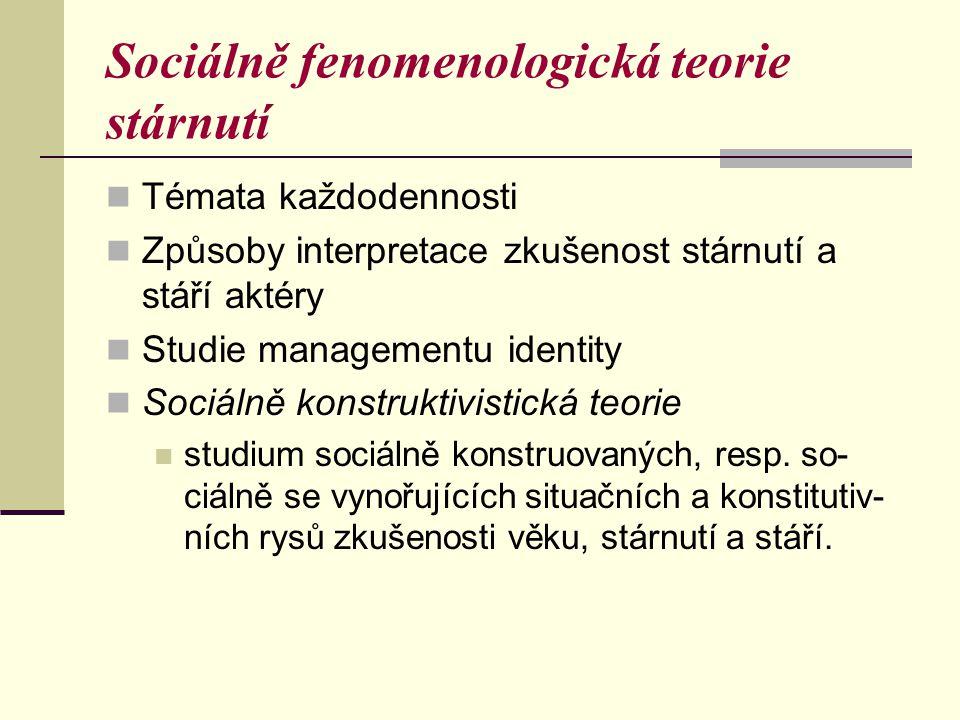 Sociálně fenomenologická teorie stárnutí Témata každodennosti Způsoby interpretace zkušenost stárnutí a stáří aktéry Studie managementu identity Sociá