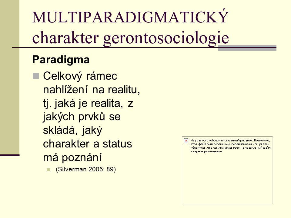 MULTIPARADIGMATICKÝ charakter gerontosociologie Paradigma Celkový rámec nahlížení na realitu, tj. jaká je realita, z jakých prvků se skládá, jaký char