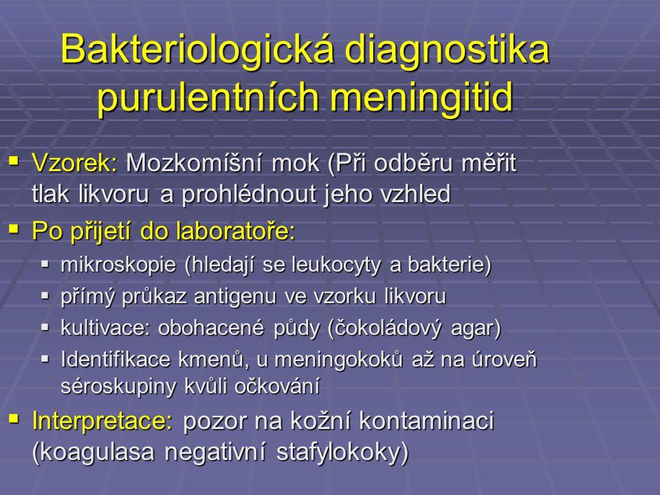 Bakteriologická diagnostika purulentních meningitid  Vzorek: Mozkomíšní mok (Při odběru měřit tlak likvoru a prohlédnout jeho vzhled  Po přijetí do