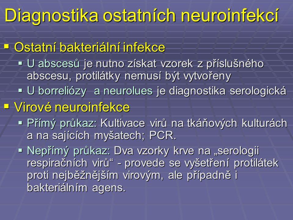 Diagnostika ostatních neuroinfekcí  Ostatní bakteriální infekce  U abscesů je nutno získat vzorek z příslušného abscesu, protilátky nemusí být vytvo