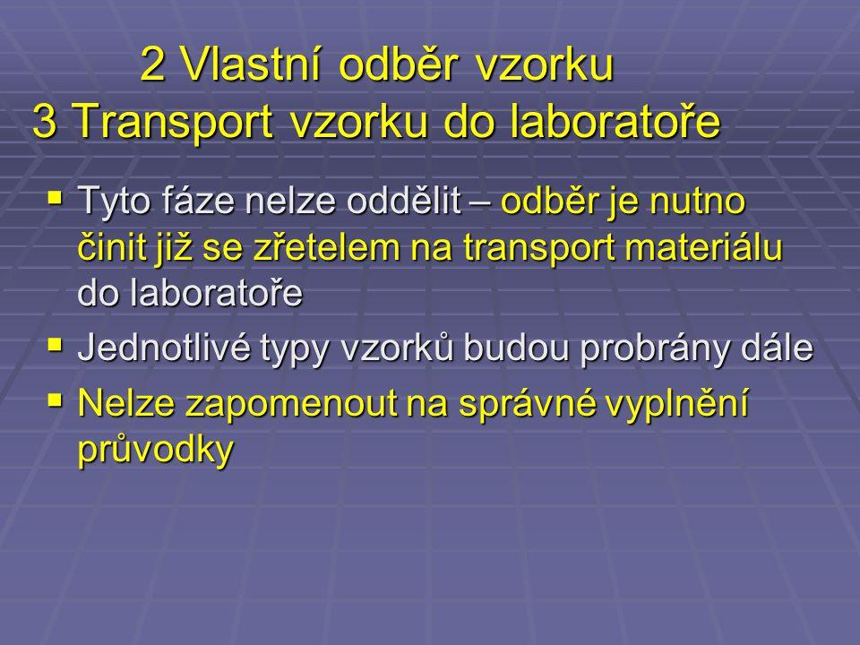 2 Vlastní odběr vzorku 3 Transport vzorku do laboratoře  Tyto fáze nelze oddělit – odběr je nutno činit již se zřetelem na transport materiálu do lab