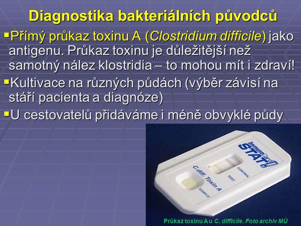 Diagnostika bakteriálních původců  Přímý průkaz toxinu A (Clostridium difficile) jako antigenu. Průkaz toxinu je důležitější než samotný nález klostr