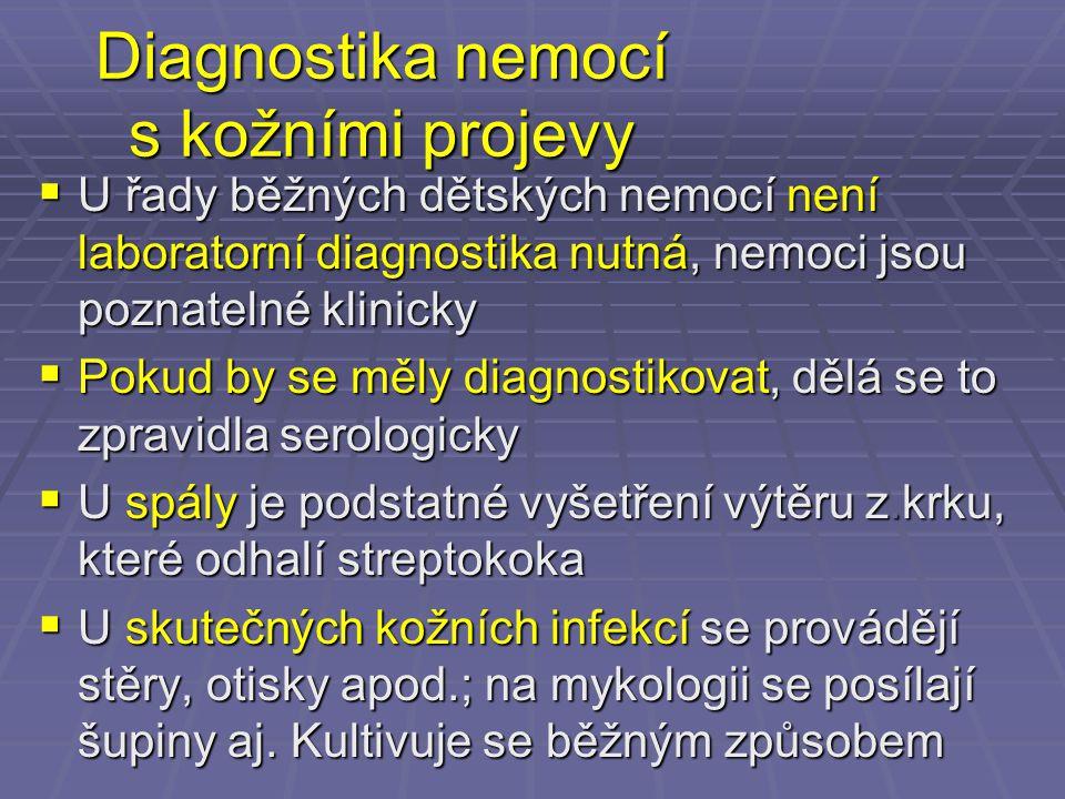 Diagnostika nemocí s kožními projevy  U řady běžných dětských nemocí není laboratorní diagnostika nutná, nemoci jsou poznatelné klinicky  Pokud by s