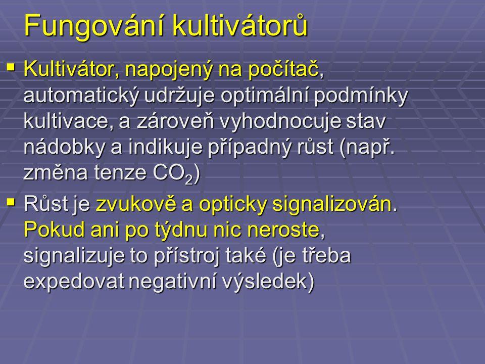 Fungování kultivátorů  Kultivátor, napojený na počítač, automatický udržuje optimální podmínky kultivace, a zároveň vyhodnocuje stav nádobky a indiku