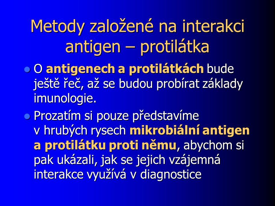 Metody založené na interakci antigen – protilátka O antigenech a protilátkách bude ještě řeč, až se budou probírat základy imunologie. O antigenech a