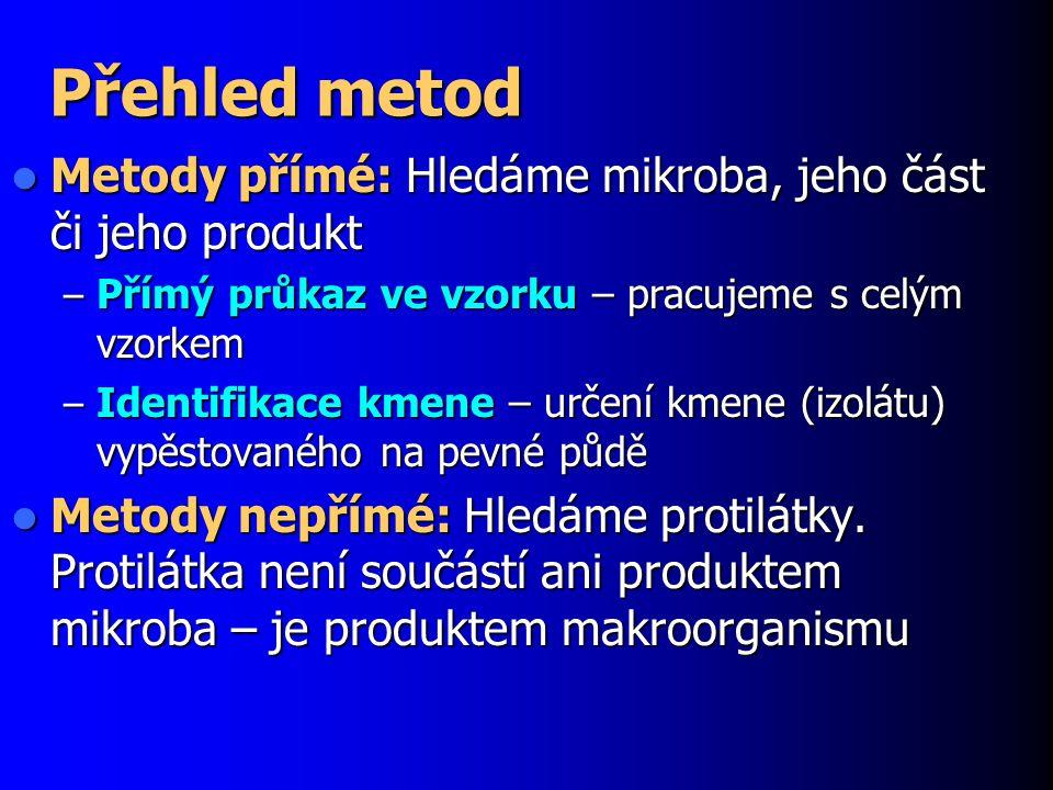 Další identifikační metody Ne všechny identifikační metody jsou založeny na principu substrát  produkt.