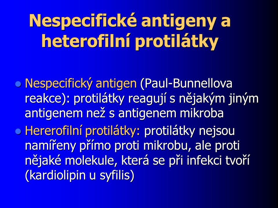 Nespecifické antigeny a heterofilní protilátky Nespecifický antigen (Paul-Bunnellova reakce): protilátky reagují s nějakým jiným antigenem než s antig