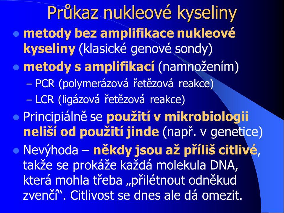 Průkaz nukleové kyseliny metody bez amplifikace nukleové kyseliny (klasické genové sondy) metody s amplifikací (namnožením) – PCR (polymerázová řetězová reakce) – LCR (ligázová řetězová reakce) Principiálně se použití v mikrobiologii neliší od použití jinde (např.