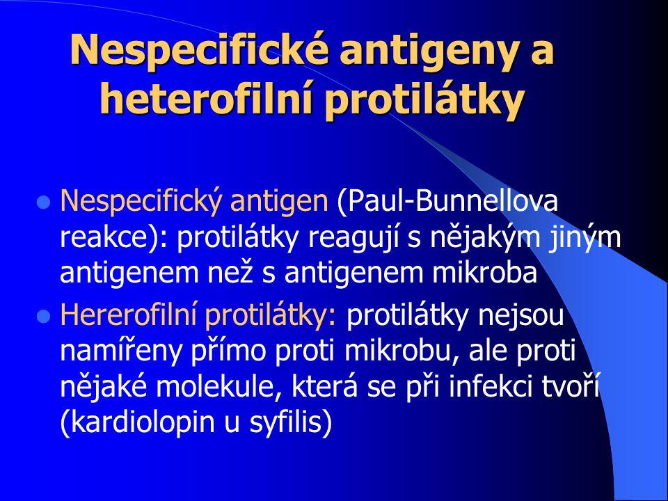 Nespecifické antigeny a heterofilní protilátky Nespecifický antigen (Paul-Bunnellova reakce): protilátky reagují s nějakým jiným antigenem než s antigenem mikroba Hererofilní protilátky: protilátky nejsou namířeny přímo proti mikrobu, ale proti nějaké molekule, která se při infekci tvoří (kardiolopin u syfilis)