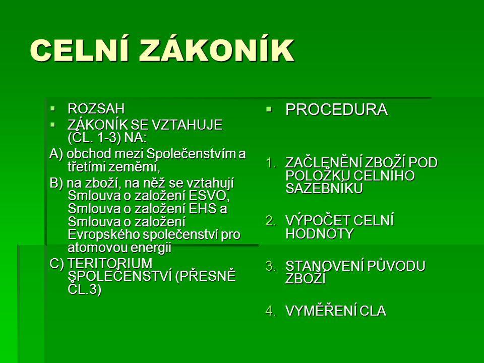 CELNÍ ZÁKONÍK  ROZSAH  ZÁKONÍK SE VZTAHUJE (ČL.