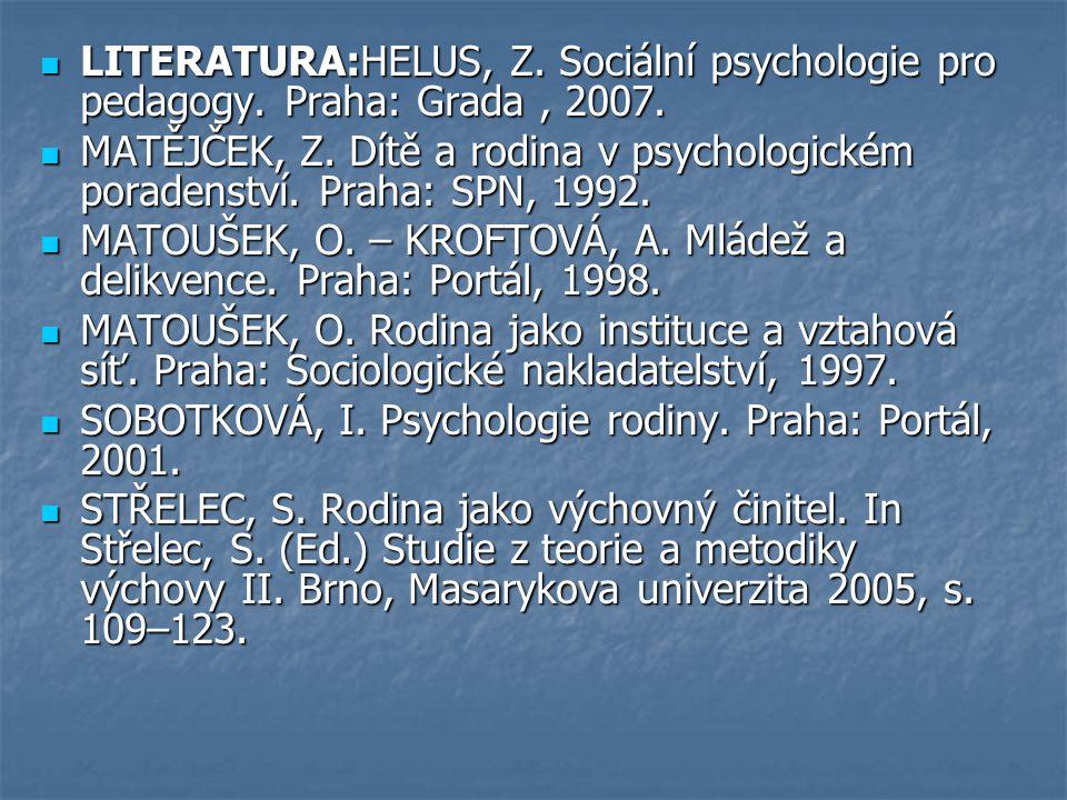 LITERATURA:HELUS, Z. Sociální psychologie pro pedagogy. Praha: Grada, 2007. LITERATURA:HELUS, Z. Sociální psychologie pro pedagogy. Praha: Grada, 2007