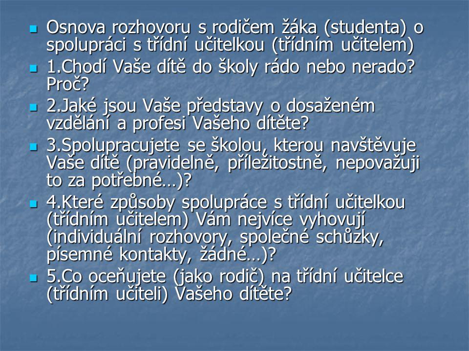 Osnova rozhovoru s rodičem žáka (studenta) o spolupráci s třídní učitelkou (třídním učitelem) Osnova rozhovoru s rodičem žáka (studenta) o spolupráci