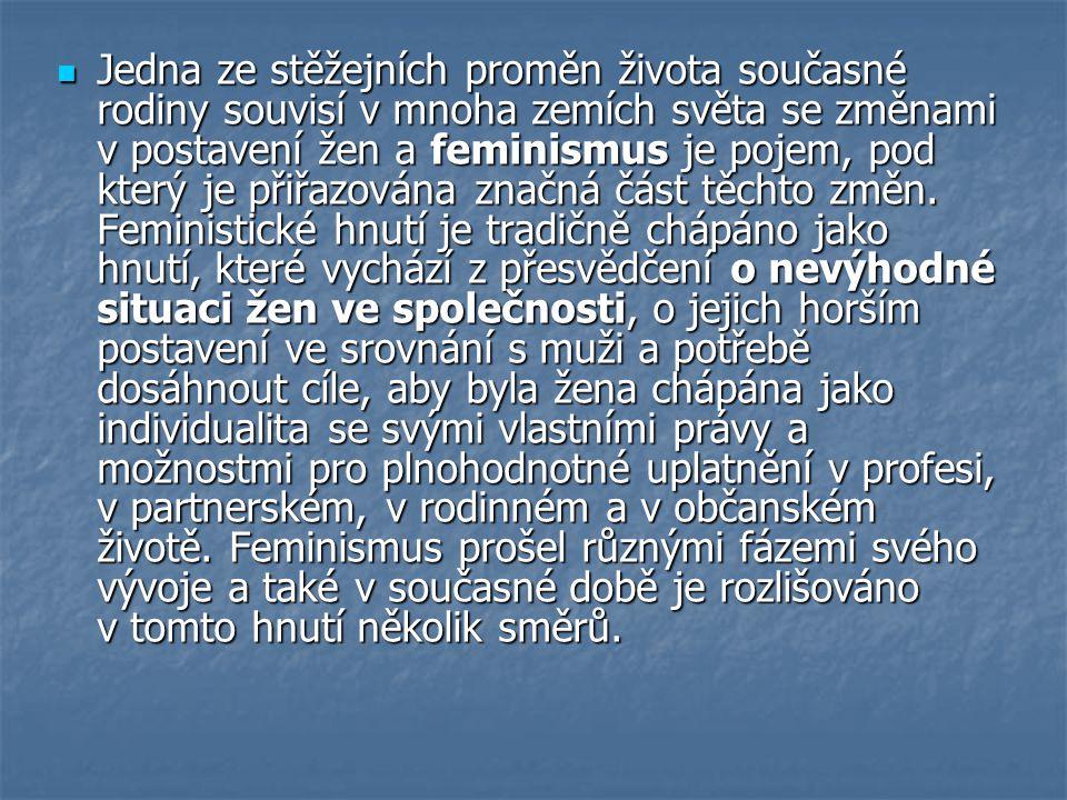 Jedna ze stěžejních proměn života současné rodiny souvisí v mnoha zemích světa se změnami v postavení žen a feminismus je pojem, pod který je přiřazov