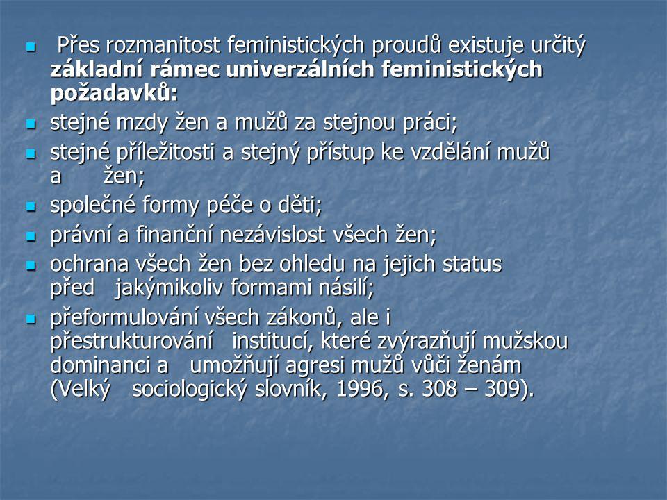 Přes rozmanitost feministických proudů existuje určitý základní rámec univerzálních feministických požadavků: Přes rozmanitost feministických proudů existuje určitý základní rámec univerzálních feministických požadavků: stejné mzdy žen a mužů za stejnou práci; stejné mzdy žen a mužů za stejnou práci; stejné příležitosti a stejný přístup ke vzdělání mužů a žen; stejné příležitosti a stejný přístup ke vzdělání mužů a žen; společné formy péče o děti; společné formy péče o děti; právní a finanční nezávislost všech žen; právní a finanční nezávislost všech žen; ochrana všech žen bez ohledu na jejich status před jakýmikoliv formami násilí; ochrana všech žen bez ohledu na jejich status před jakýmikoliv formami násilí; přeformulování všech zákonů, ale i přestrukturování institucí, které zvýrazňují mužskou dominanci a umožňují agresi mužů vůči ženám (Velký sociologický slovník, 1996, s.