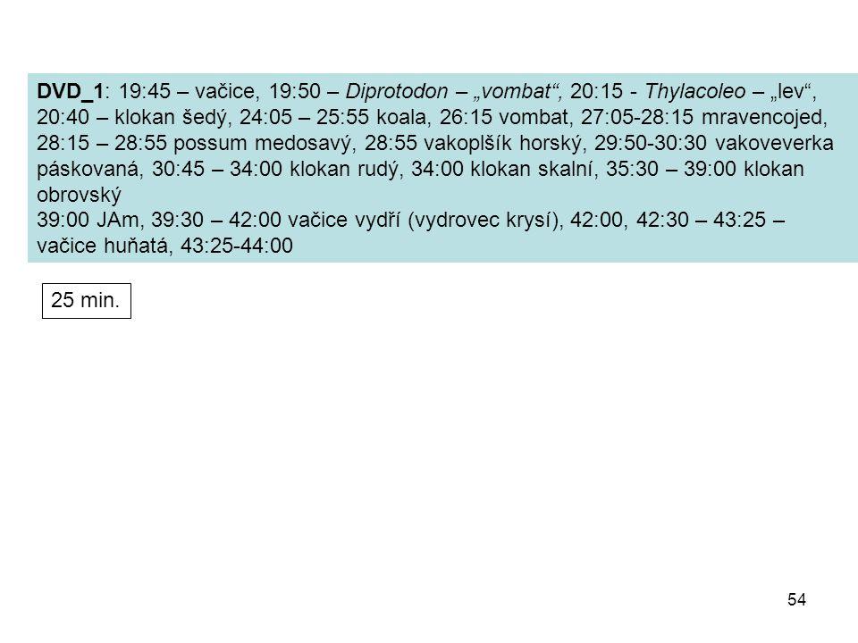 """54 DVD_1: 19:45 – vačice, 19:50 – Diprotodon – """"vombat"""", 20:15 - Thylacoleo – """"lev"""", 20:40 – klokan šedý, 24:05 – 25:55 koala, 26:15 vombat, 27:05-28:"""