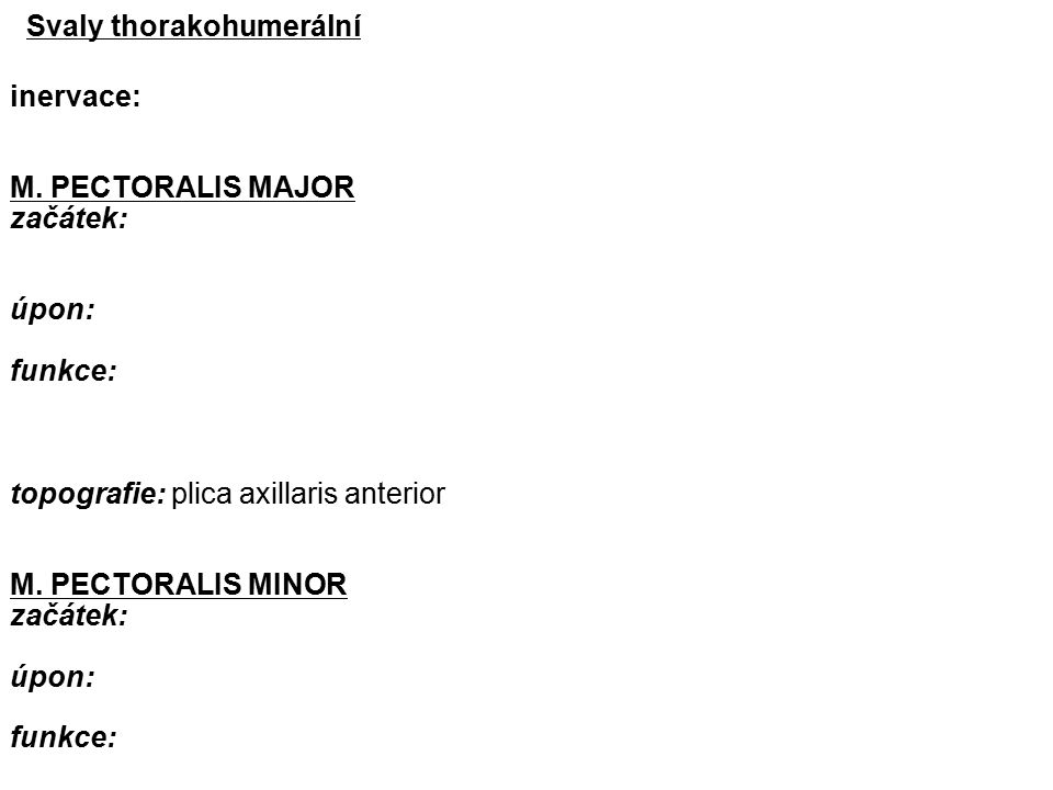 Svaly thorakohumerální inervace: M.