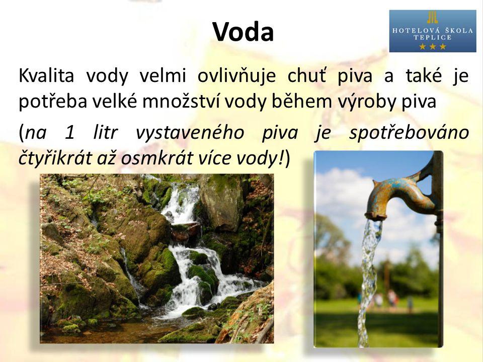 Voda Kvalita vody velmi ovlivňuje chuť piva a také je potřeba velké množství vody během výroby piva (na 1 litr vystaveného piva je spotřebováno čtyřik