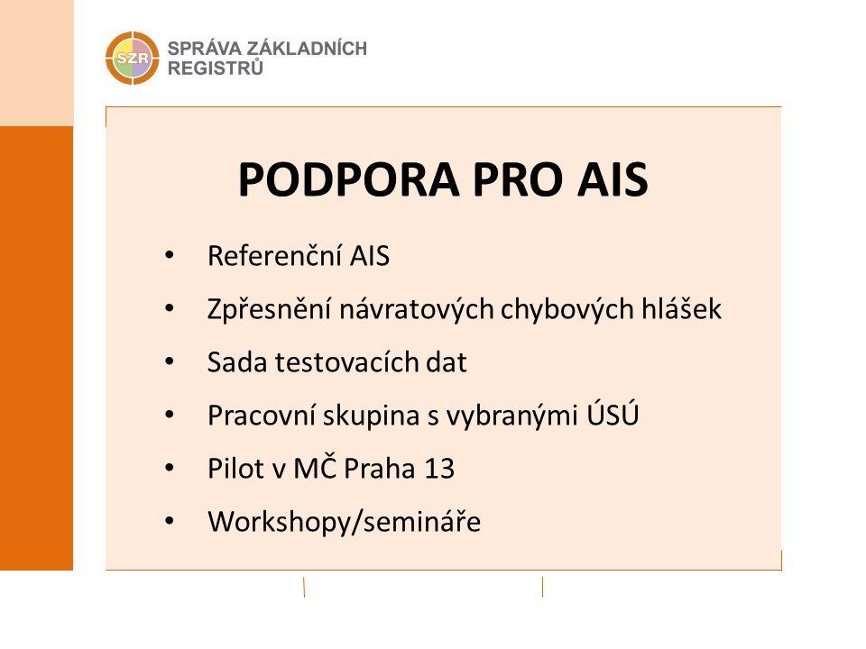 PODPORA PRO AIS Referenční AIS Zpřesnění návratových chybových hlášek Sada testovacích dat Pracovní skupina s vybranými ÚSÚ Pilot v MČ Praha 13 Workshopy/semináře