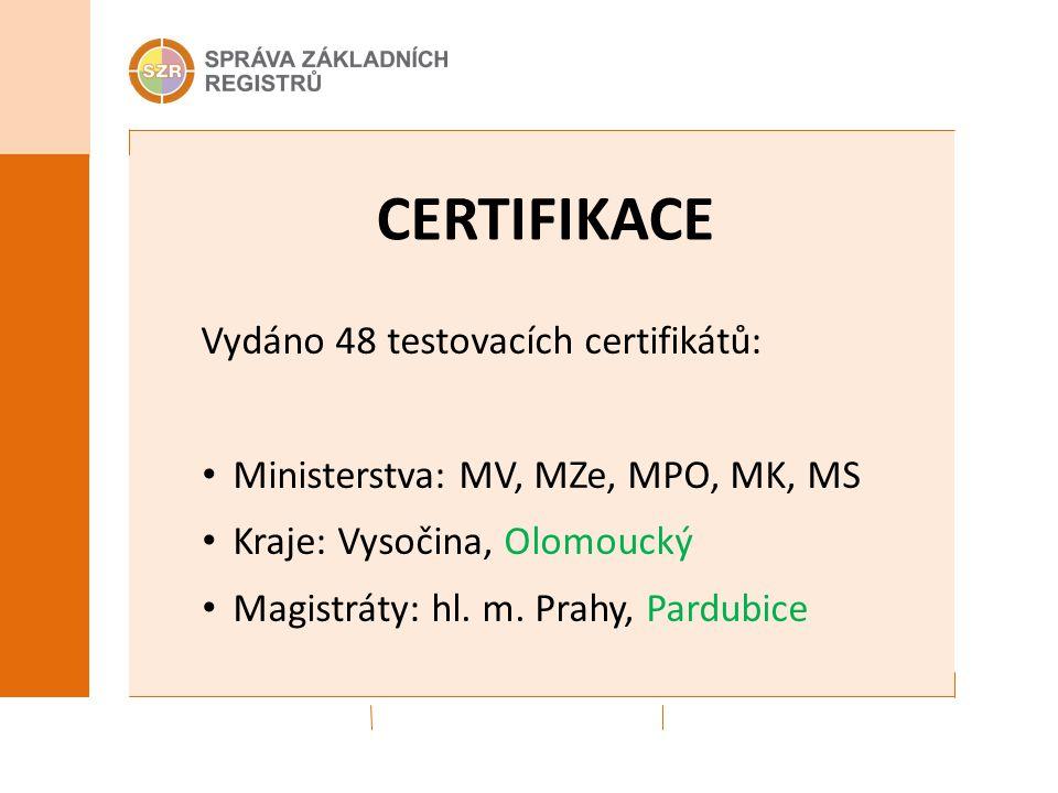 CERTIFIKACE Vydáno 48 testovacích certifikátů: Ministerstva: MV, MZe, MPO, MK, MS Kraje: Vysočina, Olomoucký Magistráty: hl.