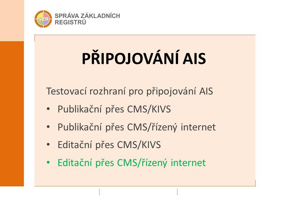 PŘIPOJOVÁNÍ AIS Testovací rozhraní pro připojování AIS Publikační přes CMS/KIVS Publikační přes CMS/řízený internet Editační přes CMS/KIVS Editační přes CMS/řízený internet