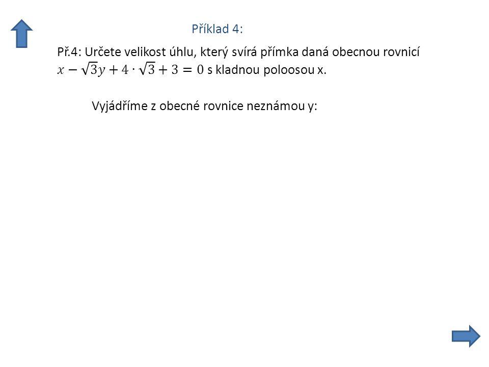Příklad 4: Vyjádříme z obecné rovnice neznámou y: