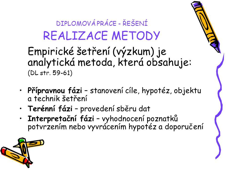 DIPLOMOVÁ PRÁCE - ŘEŠENÍ REALIZACE METODY Empirické šetření (výzkum) je analytická metoda, která obsahuje: (DL str. 59-61) Přípravnou fázi – stanovení
