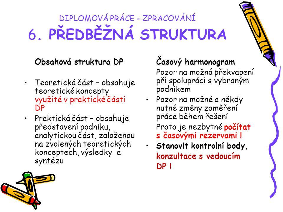 DIPLOMOVÁ PRÁCE - ZPRACOVÁNÍ 6. PŘEDBĚŽNÁ STRUKTURA Obsahová struktura DP Teoretická část – obsahuje teoretické koncepty využité v praktické části DP