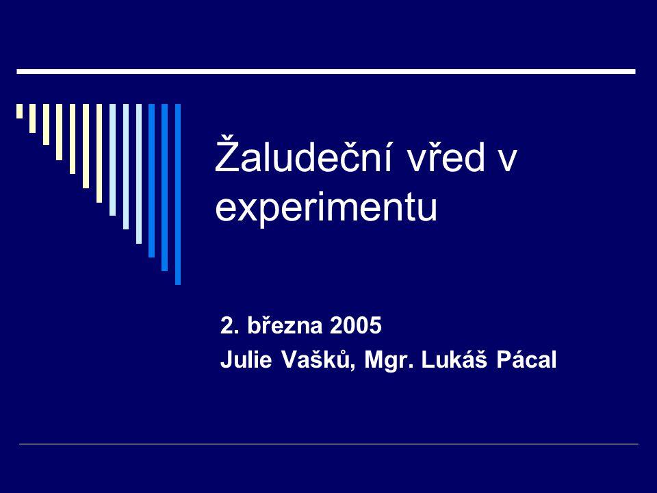 Žaludeční vřed v experimentu 2. března 2005 Julie Vašků, Mgr. Lukáš Pácal