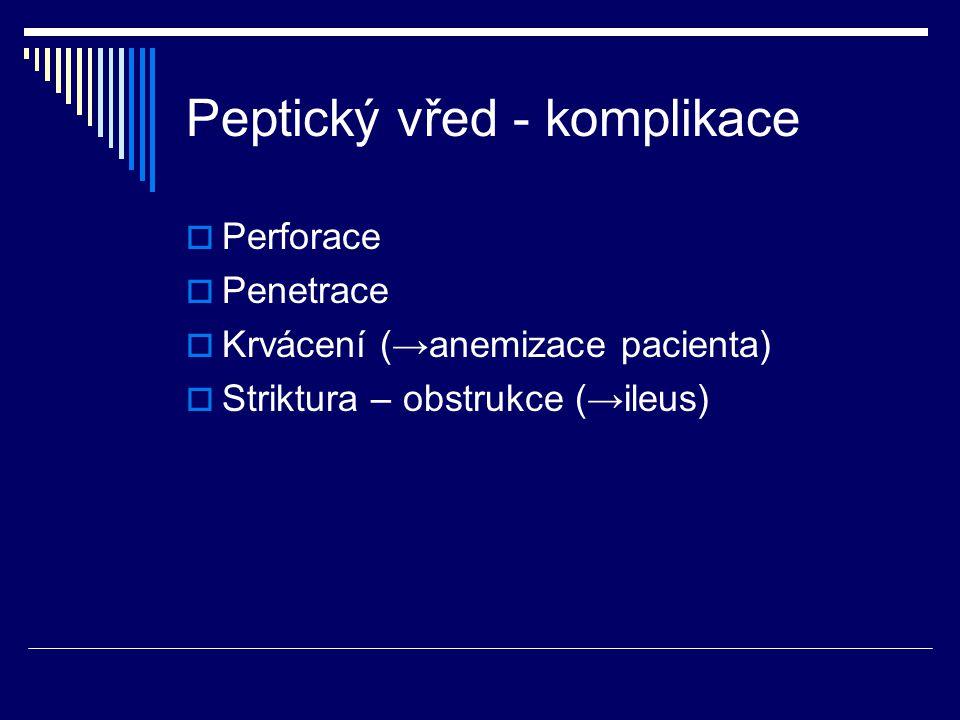 Peptický vřed - komplikace  Perforace  Penetrace  Krvácení (→anemizace pacienta)  Striktura – obstrukce (→ileus)