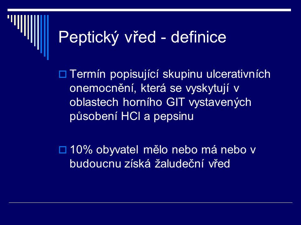 Peptický vřed - definice  Termín popisující skupinu ulcerativních onemocnění, která se vyskytují v oblastech horního GIT vystavených působení HCl a pepsinu  10% obyvatel mělo nebo má nebo v budoucnu získá žaludeční vřed