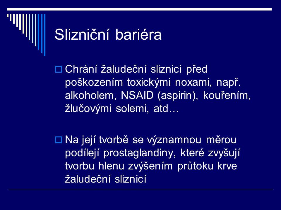 Slizniční bariéra  Chrání žaludeční sliznici před poškozením toxickými noxami, např.
