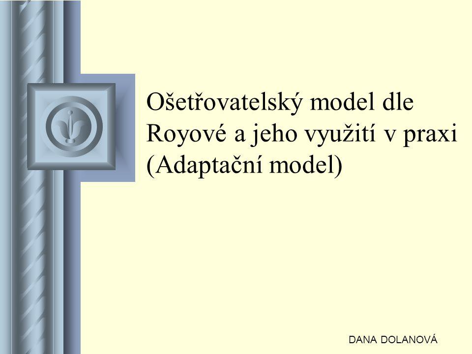 Ošetřovatelský model dle Royové a jeho využití v praxi (Adaptační model) DANA DOLANOVÁ Součástí této prezentace bude pravděpodobně diskuse, jejíž výsledkem budou akce.