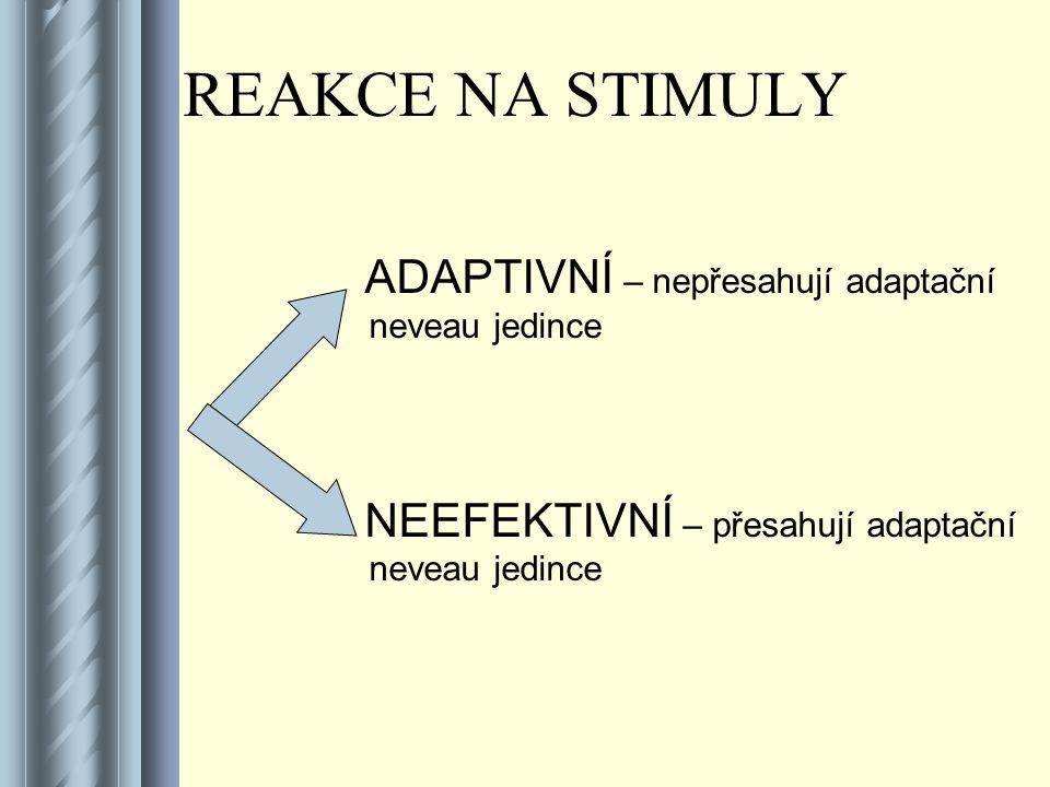 REAKCE NA STIMULY ADAPTIVNÍ – nepřesahují adaptační neveau jedince NEEFEKTIVNÍ – přesahují adaptační neveau jedince