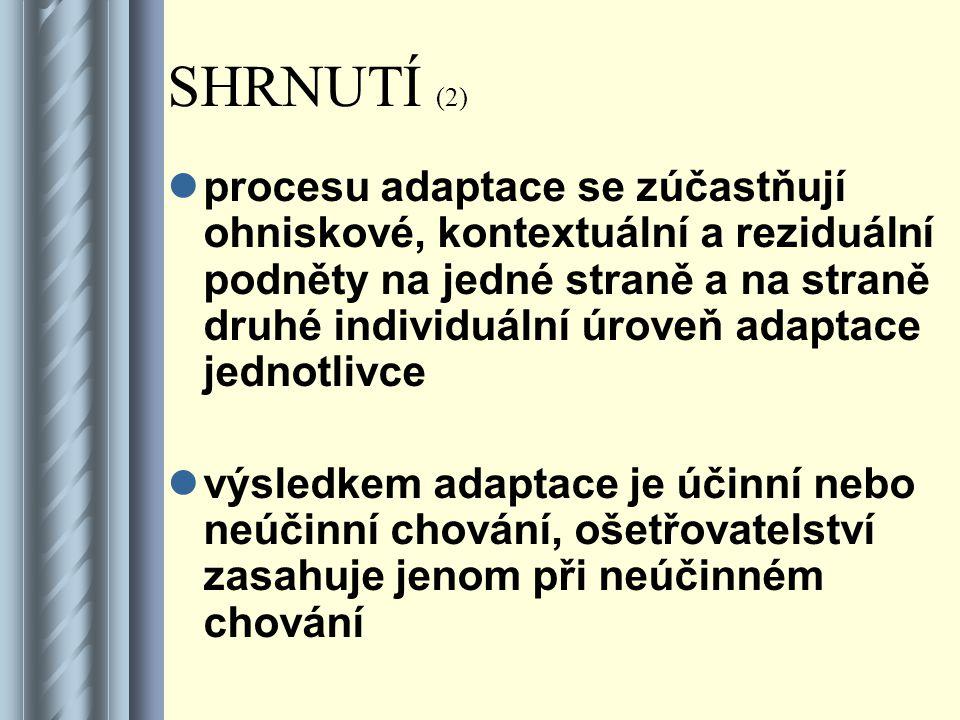 SHRNUTÍ (2) procesu adaptace se zúčastňují ohniskové, kontextuální a reziduální podněty na jedné straně a na straně druhé individuální úroveň adaptace jednotlivce výsledkem adaptace je účinní nebo neúčinní chování, ošetřovatelství zasahuje jenom při neúčinném chování