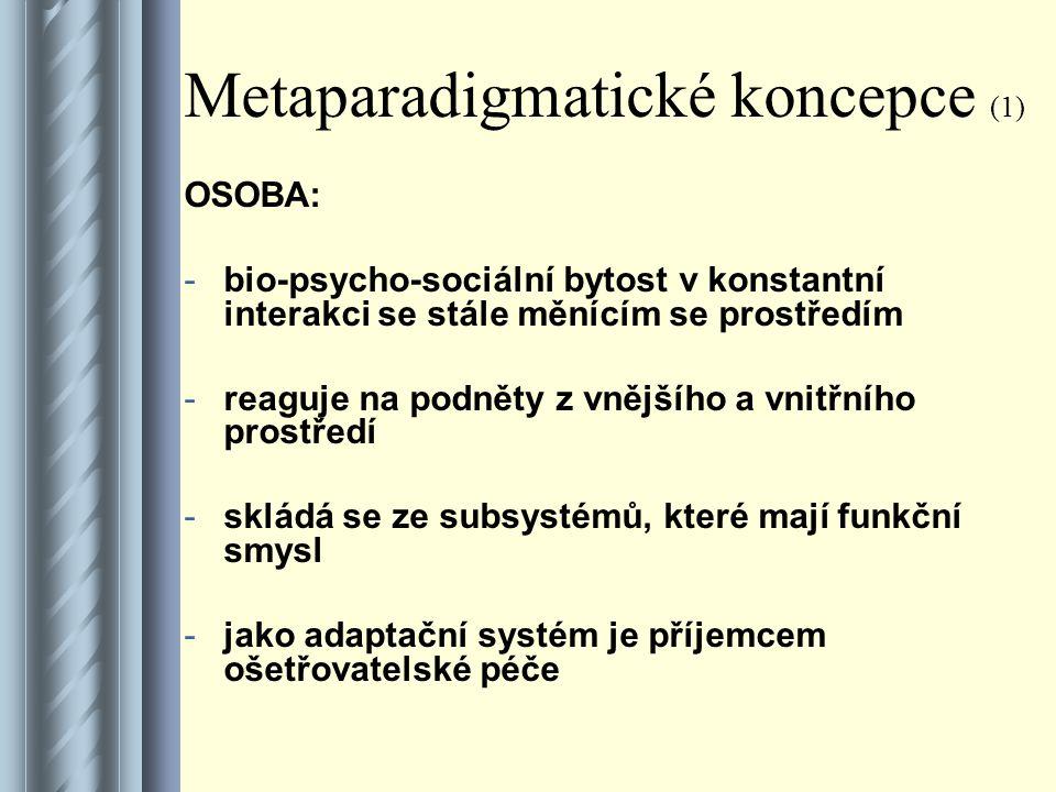 Metaparadigmatické koncepce (1) OSOBA: -bio-psycho-sociální bytost v konstantní interakci se stále měnícím se prostředím -reaguje na podněty z vnějšího a vnitřního prostředí -skládá se ze subsystémů, které mají funkční smysl -jako adaptační systém je příjemcem ošetřovatelské péče