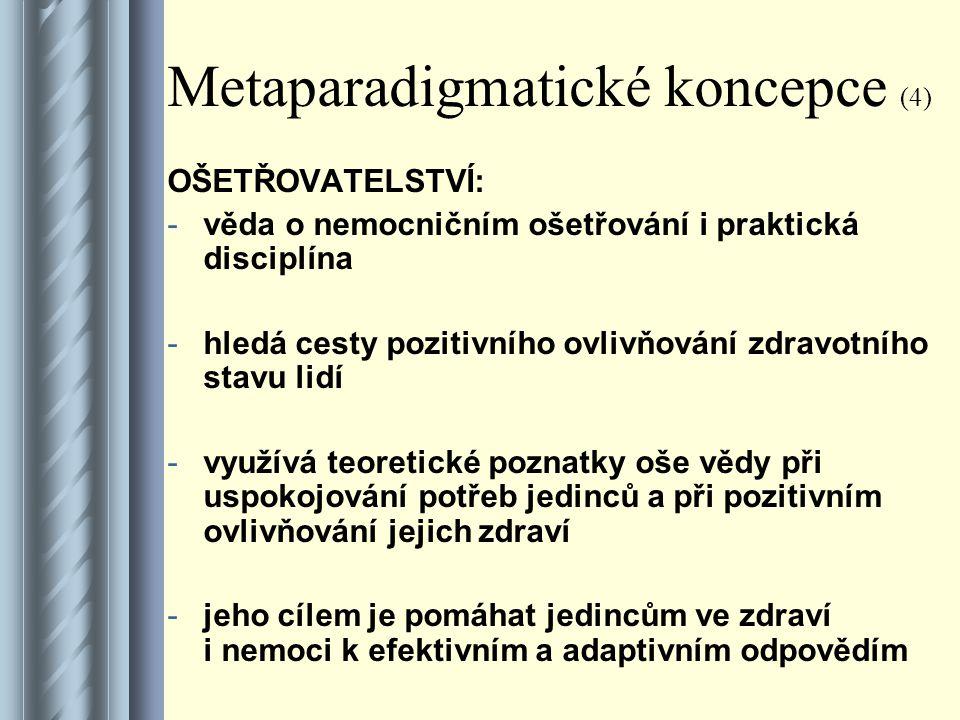 Metaparadigmatické koncepce (4) OŠETŘOVATELSTVÍ: -věda o nemocničním ošetřování i praktická disciplína -hledá cesty pozitivního ovlivňování zdravotního stavu lidí -využívá teoretické poznatky oše vědy při uspokojování potřeb jedinců a při pozitivním ovlivňování jejich zdraví -jeho cílem je pomáhat jedincům ve zdraví i nemoci k efektivním a adaptivním odpovědím