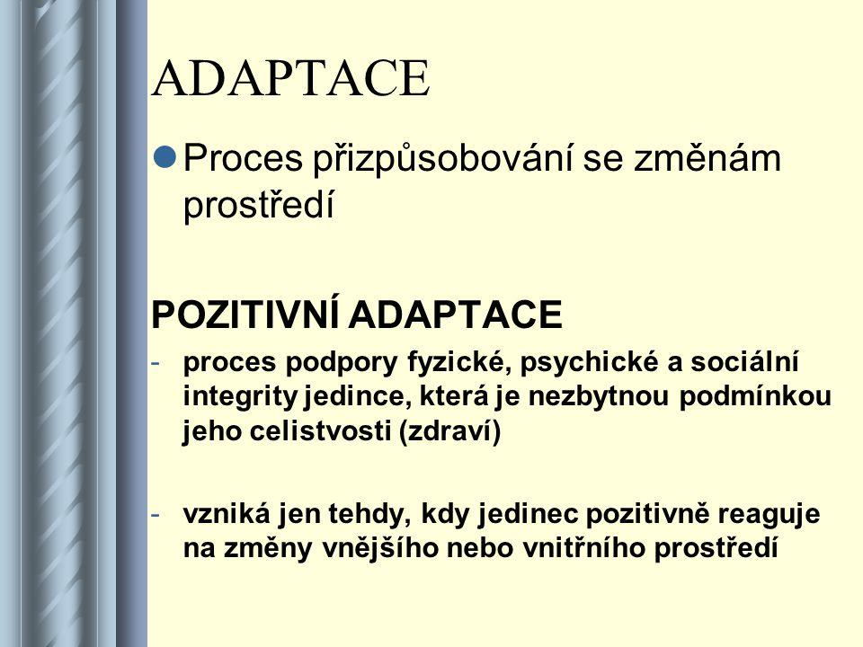 ADAPTACE Proces přizpůsobování se změnám prostředí POZITIVNÍ ADAPTACE -proces podpory fyzické, psychické a sociální integrity jedince, která je nezbytnou podmínkou jeho celistvosti (zdraví) -vzniká jen tehdy, kdy jedinec pozitivně reaguje na změny vnějšího nebo vnitřního prostředí