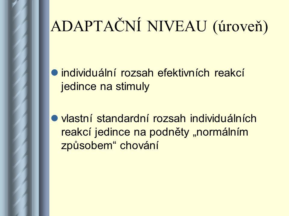 ADAPTAČNÍ NIVEAU (úroveň) individuální rozsah efektivních reakcí jedince na stimuly vlastní standardní rozsah individuálních reakcí jedince na podněty
