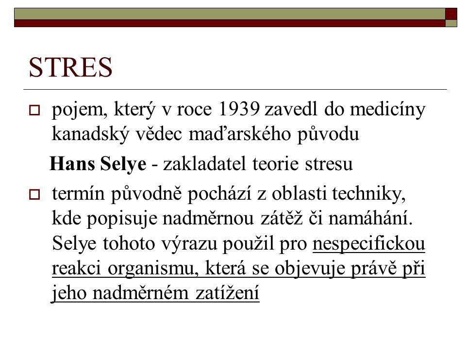 STRES  pojem, který v roce 1939 zavedl do medicíny kanadský vědec maďarského původu Hans Selye - zakladatel teorie stresu  termín původně pochází z