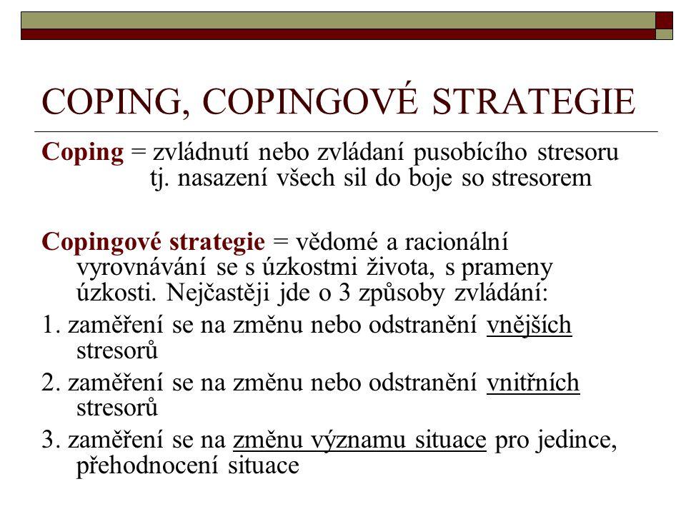 COPING, COPINGOVÉ STRATEGIE Coping = zvládnutí nebo zvládaní pusobícího stresoru tj. nasazení všech sil do boje so stresorem Copingové strategie = věd