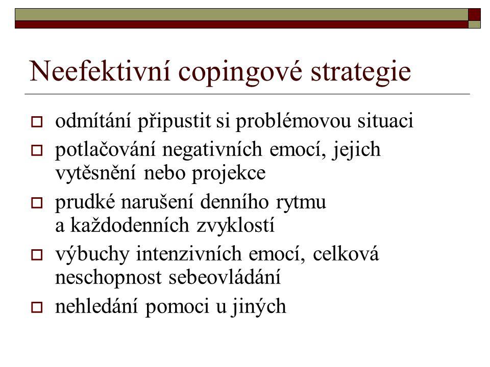 Neefektivní copingové strategie  odmítání připustit si problémovou situaci  potlačování negativních emocí, jejich vytěsnění nebo projekce  prudké n