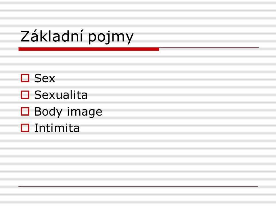 Základní pojmy  Sex  Sexualita  Body image  Intimita