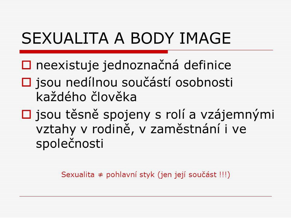 SEXUALITA A BODY IMAGE  neexistuje jednoznačná definice  jsou nedílnou součástí osobnosti každého člověka  jsou těsně spojeny s rolí a vzájemnými v