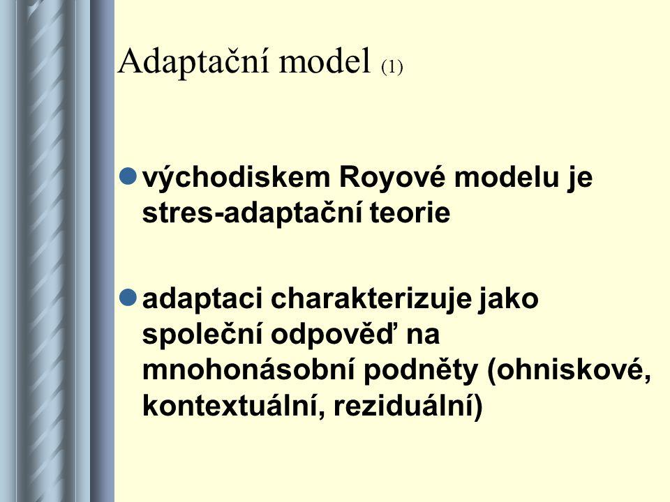 Adaptační model (2) procesu adaptace se zúčastňují ohniskové, kontextuální a reziduální podněty na jedné straně a na straně druhé individuální úroveň adaptace jednotlivce výsledkem adaptace je účinní nebo neúčinní chování, ošetřovatelství zasahuje jenom při neúčinném chování