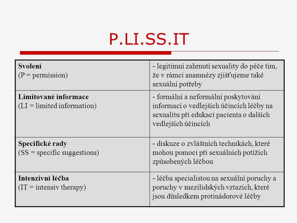 P.LI.SS.IT Svolení (P = permission) - legitimní zahrnutí sexuality do péče tím, že v rámci anamnézy zjišťujeme také sexuální potřeby Limitované inform
