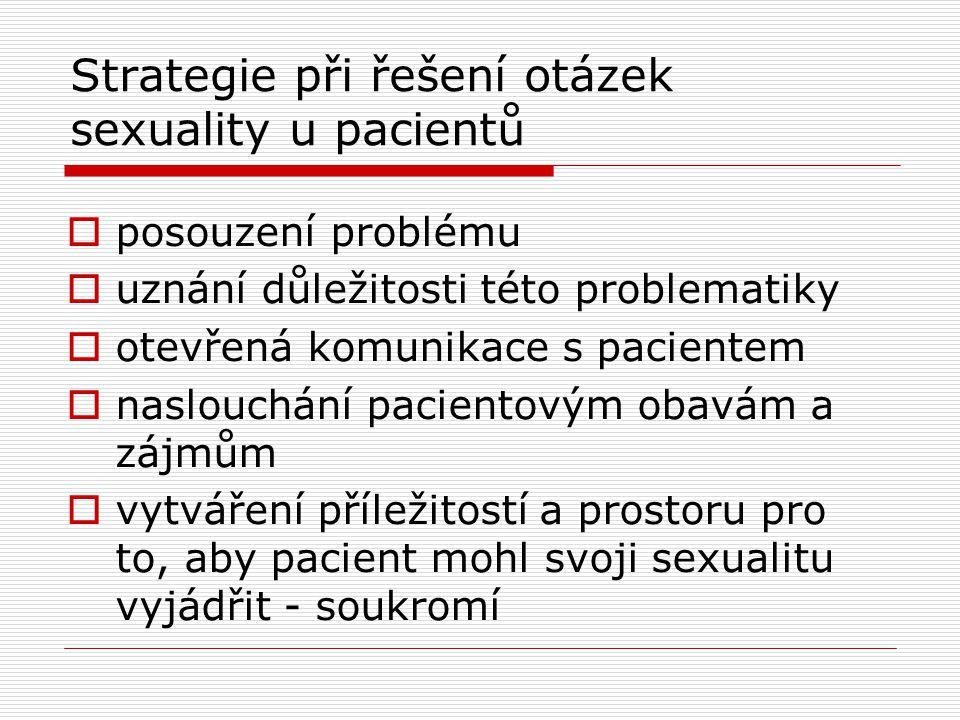 Strategie při řešení otázek sexuality u pacientů  posouzení problému  uznání důležitosti této problematiky  otevřená komunikace s pacientem  naslo