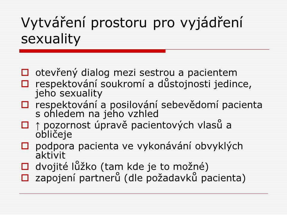 Vytváření prostoru pro vyjádření sexuality  otevřený dialog mezi sestrou a pacientem  respektování soukromí a důstojnosti jedince, jeho sexuality 